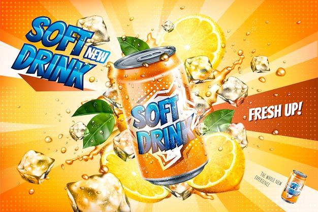 Annonces de boissons gazeuses avec des tranches de citron et des glaçons flottants