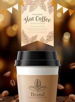 Annonces de café noir avec bokeh scintillant et élément de grains de café torréfiés en illustration 3d