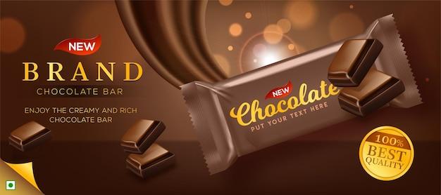 Annonces de chocolat premium en illustration 3d