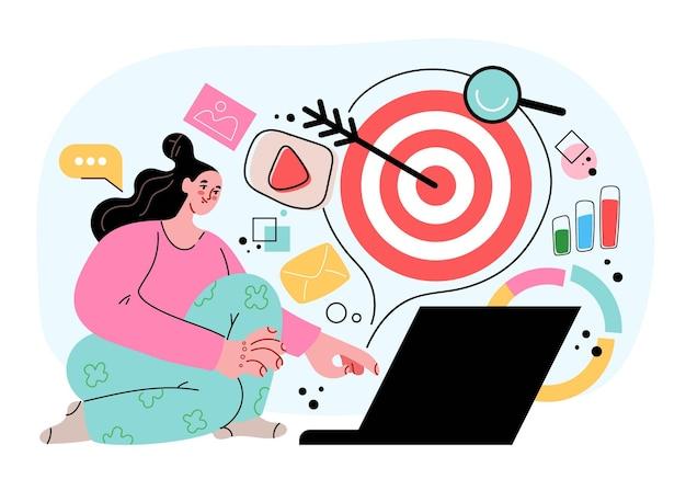 Annonces ciblées atteignant le concept abstrait de réussite commerciale