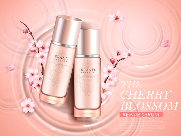 Annonces cosmétiques élégantes de fleurs de cerisier, vue de dessus de deux bouteilles exquises avec des branches de sakura sur fond d'ondulations en illustration