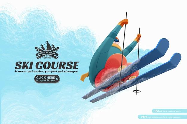 Annonces de cours de station de ski avec skieur professionnel sautant en l'air illustration de vue à faible angle