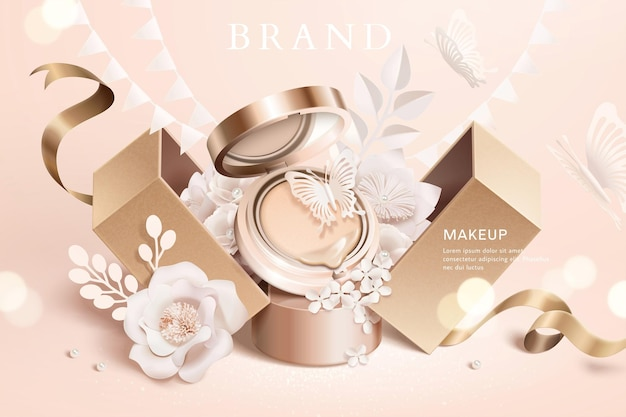 Annonces de coussin de fondation avec des fleurs en papier et une boîte-cadeau en illustration 3d