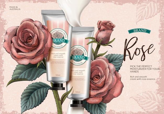 Annonces de crème pour les mains à la rose, produit de crème pour les mains exquis et texture crémeuse en illustration avec des décorations de roses dans un style d'ombrage de gravure