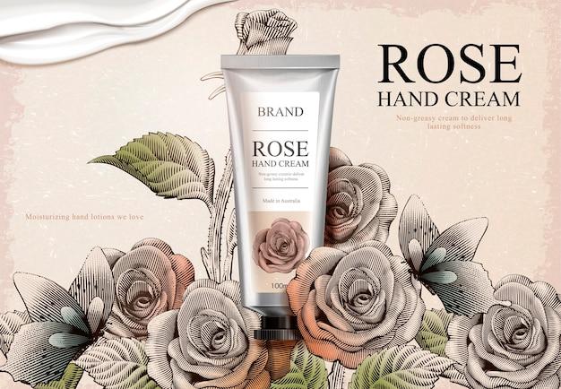 Annonces de crème pour les mains à la rose, produit de crème pour les mains exquis et texture crémeuse en illustration avec jardin de roses et papillons dans le style d'ombrage de gravure