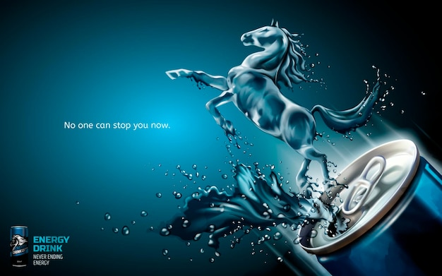 Annonces élégantes de boissons énergisantes, cheval liquide a sauté de la boîte avec des boissons éclaboussantes en illustration 3d, fond bleu