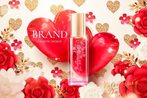 Annonces de flacon pulvérisateur cosmétique avec des fleurs en papier et des ballons en forme de coeur rouge en illustration 3d