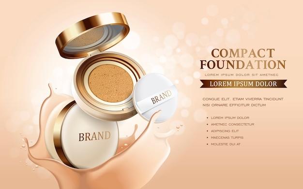 Annonces de fond de teint compact, produit essentiel de maquillage attrayant avec illustration 3d de texture isolée
