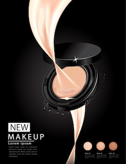 Annonces de fondation compactes, maquillage attrayant