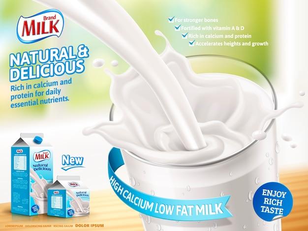 Annonces de lait laitier, lait délicieux coulant en illustration isolé sur fond de bokeh, produits en carton de papier avec conception d'emballage