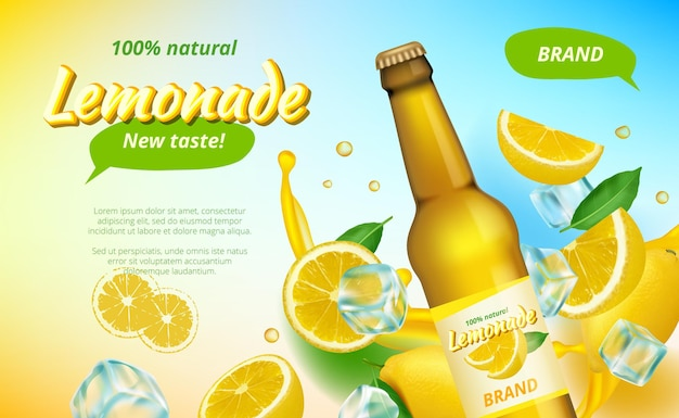 Annonces lemone. des éclaboussures de jus jaune et la moitié des fruits sains boivent une affiche publicitaire.