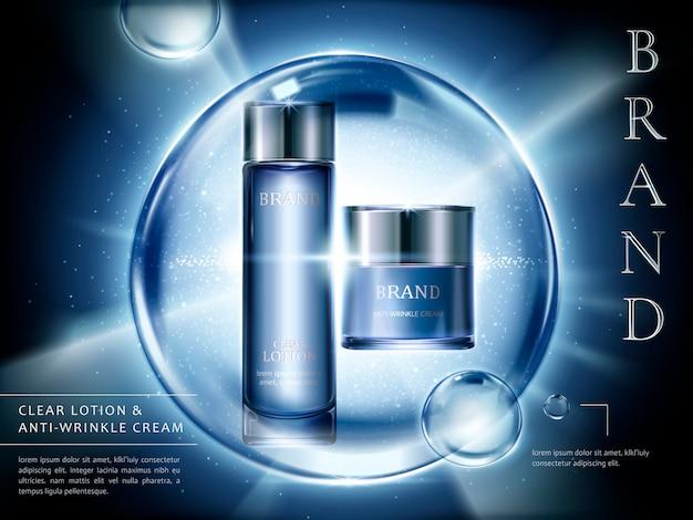 Annonces de lontion et de crème, contenants de cosmétiques sertis de lumière éclatée et de bulles géantes en illustration