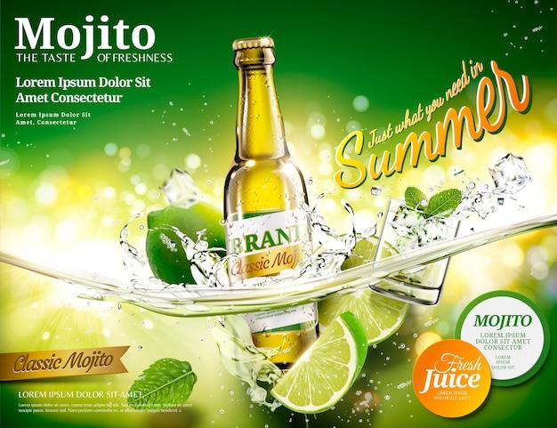 Annonces mojito rafraîchissantes avec une bouteille de boisson tombant dans un liquide transparent, fond de bokeh vert