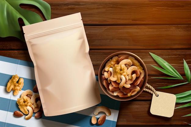 Annonces de noix de qualité supérieure sur une table en bois en illustration 3d, angle de vue de dessus
