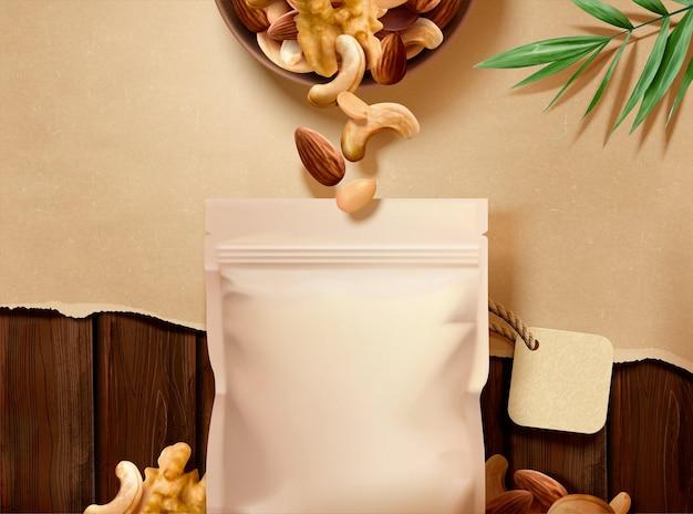 Annonces de noix sur une table en bois avec du papier déchiré en illustration 3d, angle de vue de dessus