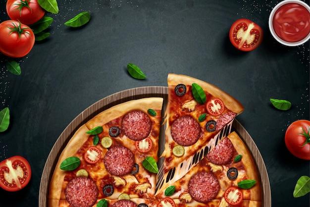 Annonces de pizza au pepperoni avec de délicieux ingrédients sur tableau noir en illustration 3d