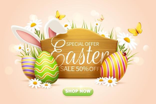 Annonces pop-up de vente de pâques avec un panneau en bois et des œufs de pâques colorés
