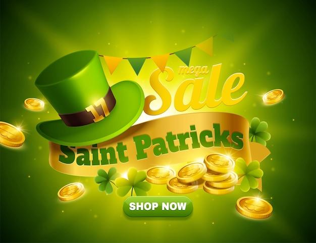 Annonces pop-up de vente de la saint-patrick avec un chapeau de lutin vert et des pièces d'or