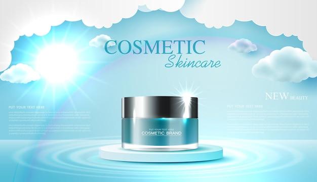 Annonces de produits cosmétiques ou de soins de la peau avec bannière publicitaire de bouteille pour produits de beauté avec art de l'amour en papier