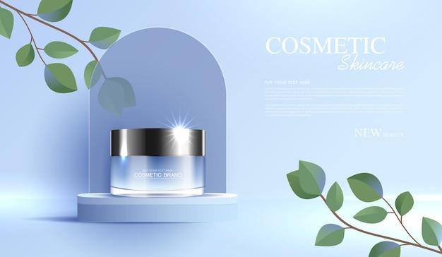 Annonces de produits cosmétiques ou de soins de la peau avec bannière publicitaire de bouteille pour produits de beauté et backg de feuilles