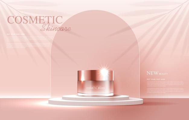 Annonces de produits cosmétiques ou de soins de la peau avec bannière publicitaire pour produits de beauté et fond de feuille