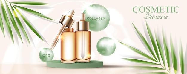 Annonces de produits cosmétiques ou de soins de la peau avec bannière publicitaire pour produits de beauté marron et feuille