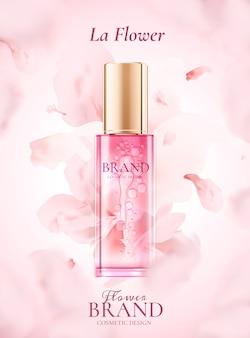 Annonces de produits de soins de la peau avec des pétales roses volants