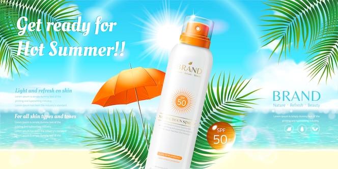 annonces de pulvérisation de crème solaire sur fond de plage de villégiature en illustration 3d, élément de feuilles de palmier