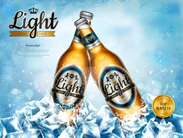 Annonces rafraîchissantes de bière légère, bière de qualité supérieure dans des bouteilles en verre dans des glaçons en grappes en illustration 3d