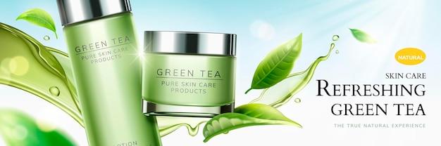 Annonces rafraîchissantes sur les soins de la peau au thé vert