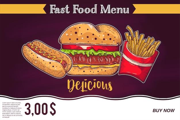 Annonces de restauration rapide au tableau - hamburger, frites et hot dog.
