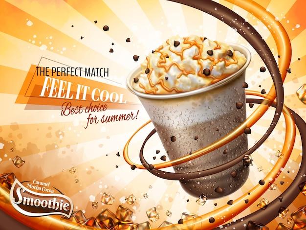 Annonces de smoothie au caramel moka et au cacao, congelez les boissons gazeuses glacées avec de la crème, des haricots au chocolat et une garniture au caramel