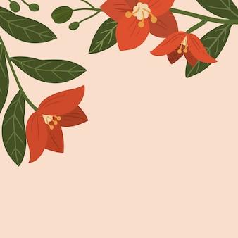 Annonces sociales de l'espace de copie de fleurs rouges botaniques