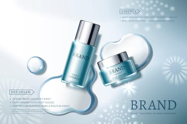 Annonces de soins de la peau avec des contenants bleus sur fond élégant, éléments de rosée d'eau et de flocons de neige