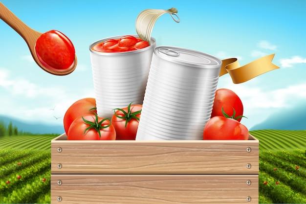 Annonces de tomates en conserve avec des ingrédients frais sur fond de champ vert, illustration 3d