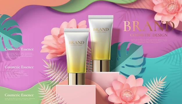 Annonces de tubes cosmétiques avec des fleurs