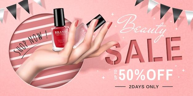 Annonces de vente de vernis à ongles avec une main tenant des produits en illustration 3d, joli fond rose avec des drapeaux de fête