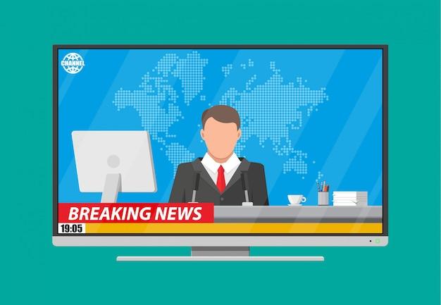 Annonceur de nouvelles dans le studio
