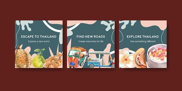 Annoncez un modèle de bannière avec voyage en thaïlande pour le marketing dans un style aquarelle