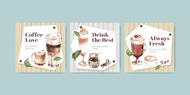 Annoncez le modèle avec le concept de style café coréen pour les affaires et le marketing aquarelle