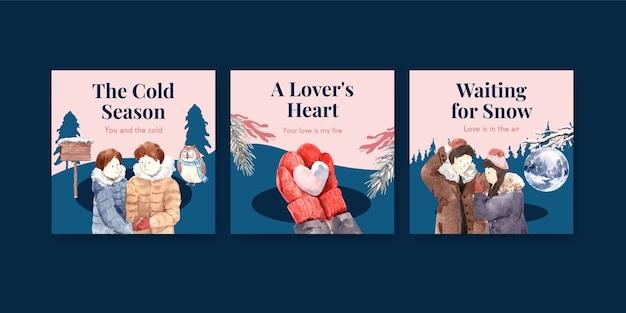 Annoncez le modèle avec la conception de concept d'amour d'hiver pour la brochure et l'illustration vectorielle de marketing aquarelle