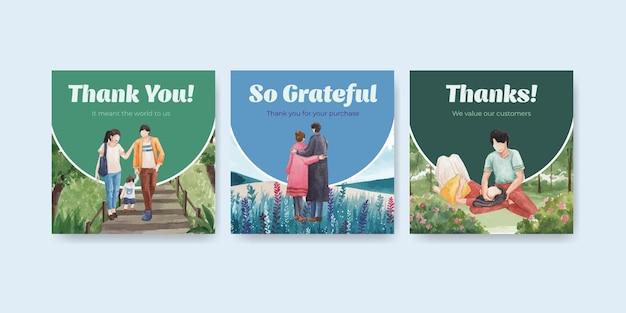 Annoncez le modèle avec la conception de concept d'amour de paradis pour l'illustration d'aquarelle d'affaires et de marketing
