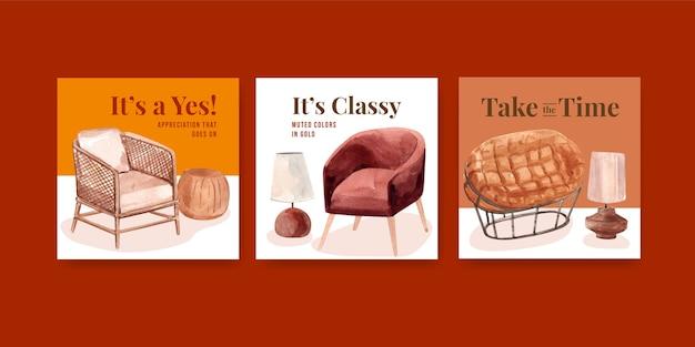 Annoncez le modèle avec la conception de concept de décor en terre cuite pour la commercialisation d'illustration vectorielle aquarelle