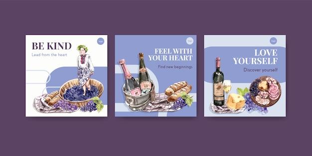 Annoncez le modèle avec la conception de concept de ferme viticole pour la commercialisation d'illustration aquarelle.