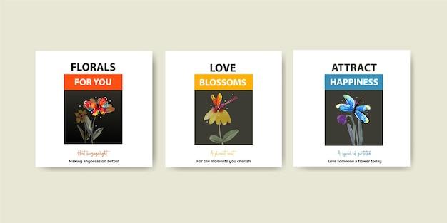 Annoncez le modèle avec la conception de concept de fleurs de pinceau pour le marketing et l'aquarelle de brochure
