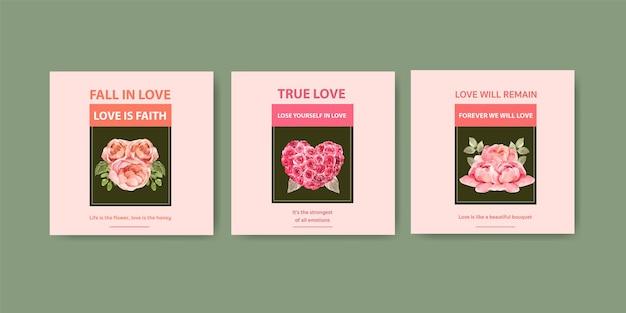 Annoncez le modèle avec la conception de concept de floraison d'amour pour l'illustration aquarelle d'affaires et de marketing