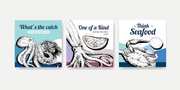 Annoncez le modèle avec la conception de concept de fruits de mer pour l'illustration marketing