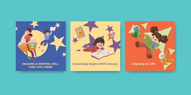 Annoncez le modèle avec la conception de concept de journée internationale de l'alphabétisation pour l'aquarelle de marketing d'entreprise