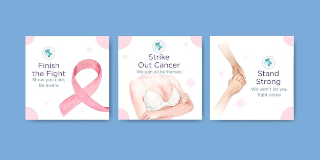 Annoncez le modèle avec la conception de concept de la journée mondiale du cancer pour la commercialisation d'illustration vectorielle aquarelle.