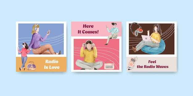 Annoncez le modèle avec la conception de concept de la journée mondiale de la radio pour le marketing et l'illustration aquarelle commerciale